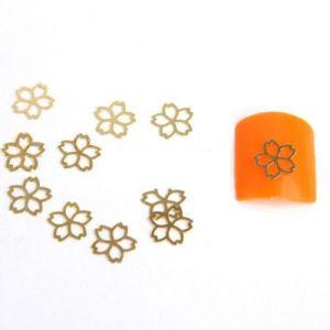 декорация на нокти златни цветя